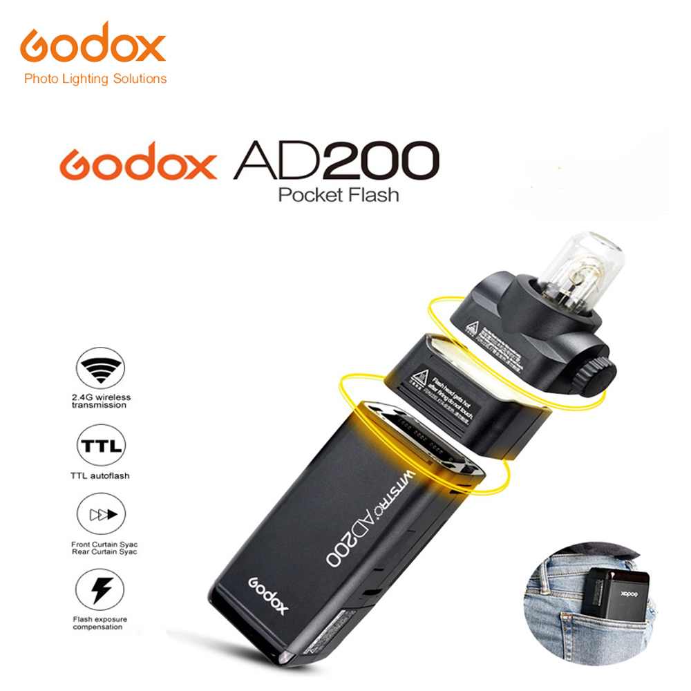 Free DHL 2017 New Godox AD200 Pocket Flash with 2 Light Heads GN52 GN60 200W Power 2.4G Wireless X System TTL HSS 1/8000s цена