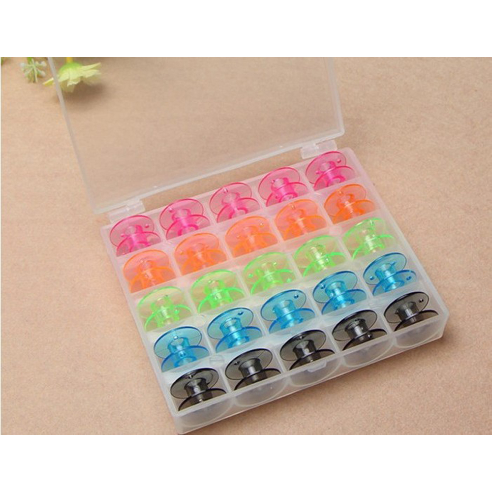 Colorful 25 Grid Clear Storage Case Box With 25Pcs Empty Colorful Bobbins Spool For Brother Janome Singer Elna Sewing Machine