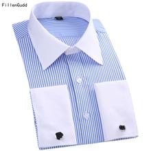 FillenGudd размера плюс 6XL французские запонки для рубашки мужские полосатые однотонные модные роскошные большие 5XL деловые рубашки мужская одежда