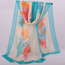 Three Colour Pashmina Scarf Flower Long Size Chiffon Scarf za** Women 2015 Print burnout velvet scarf Shawl Tartan Blue