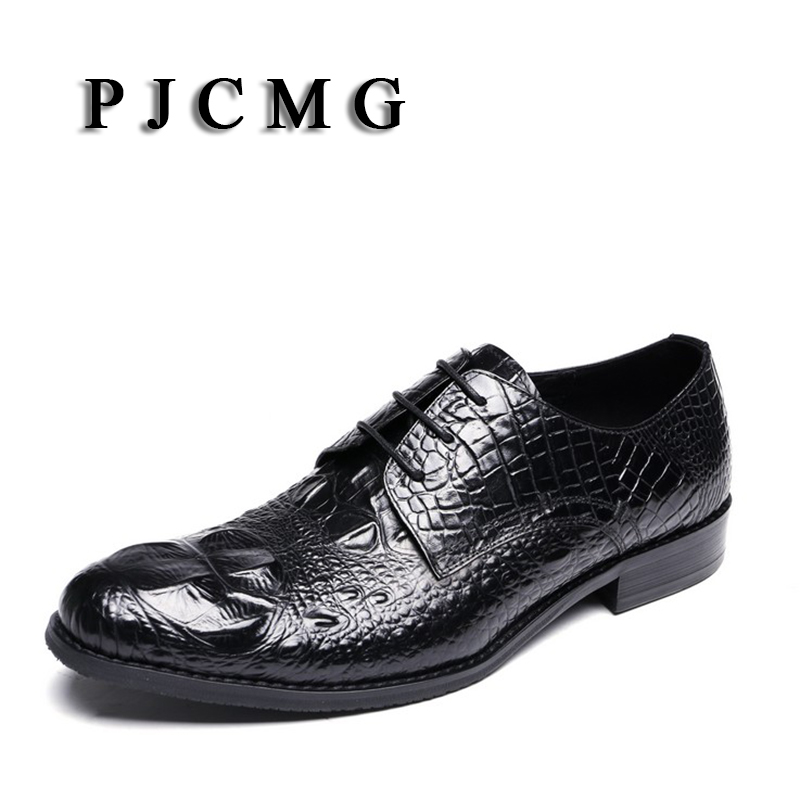 PJCMG Handmad 100% Genuine Leather Crocodile Style Men Oxfod Round Toe Lace-Up Casual Business Men Wedding Dress Shoes цены онлайн