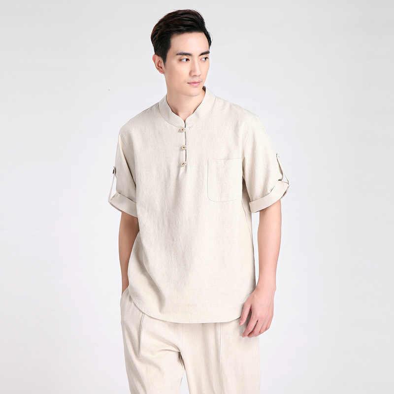 夏の新ファッションベージュ伝統中国のメンズコットンリネンカンフースーツシャツパンツ S-半袖シャツ唐装 ML XL XXL XXXL 2606