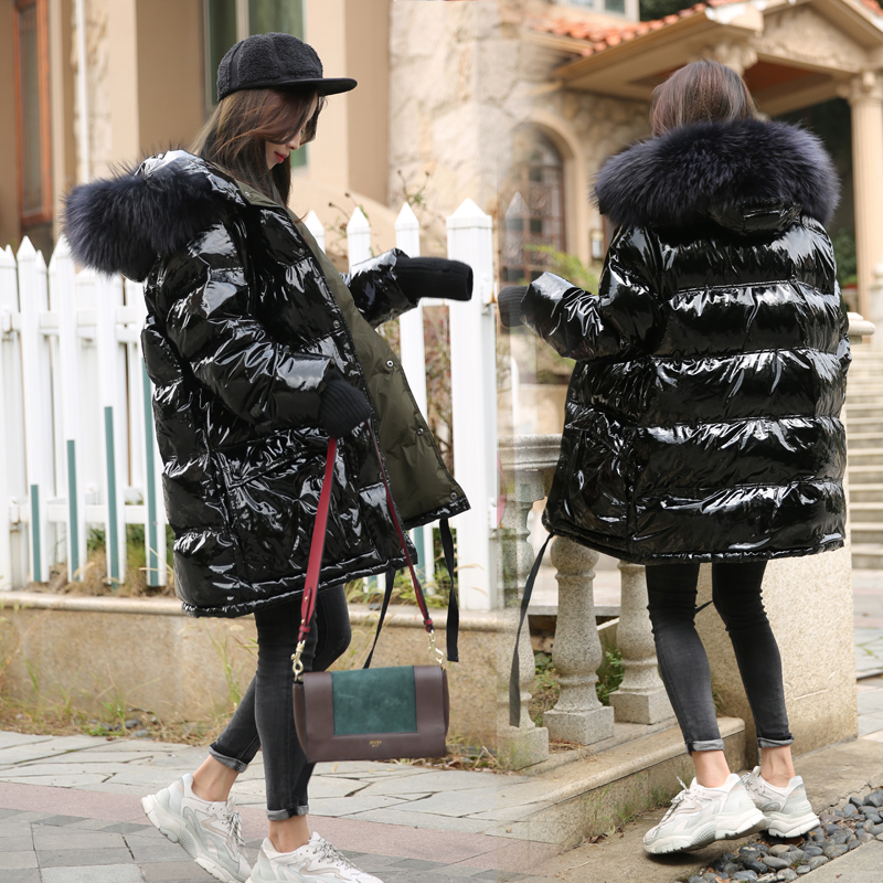 Big Real Raccoon Fur Collar Hooded 90% White Duck   Down   Jacket Women Thick Warm Long Winter   Coat   Women Female Puffer Jacket