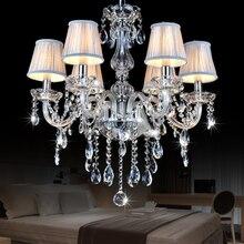 Новый Европейский Светодиодный свечи хрустальная люстра для гостиной lustre de cristal modernos свадебный ужин потолочная люстра