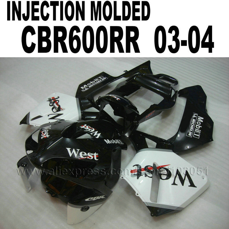 Motorcycle Injection fairing kits for Honda  CBR600RR 2003 2004 CBR 600 RR 03 04 CBR 600RR black white west fairings bodykit hot sales for honda cbr600rr 2003 2004 cbr 600rr 03 04 f5 cbr 600 rr blue black motorcycle cowl fairing kit injection molding