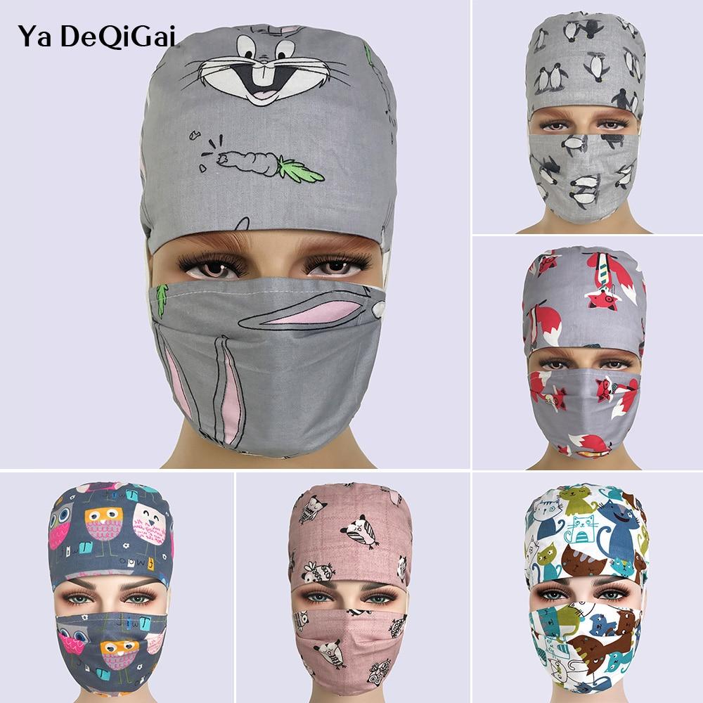 High Quality Printing Breathable Pharmacy Hat Hospital Nurse Scrub Cap Dentistry Surgical Caps Adjustable Beauty Salon Hats Mask