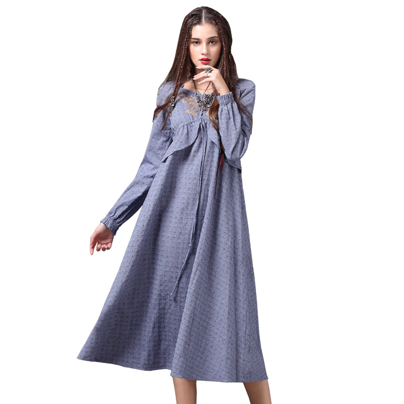2019 Spring Vintage Floral Embroidery Women Cotton Linen Dresses Full Sleeve Mid Calf Length Pleated Bowknot