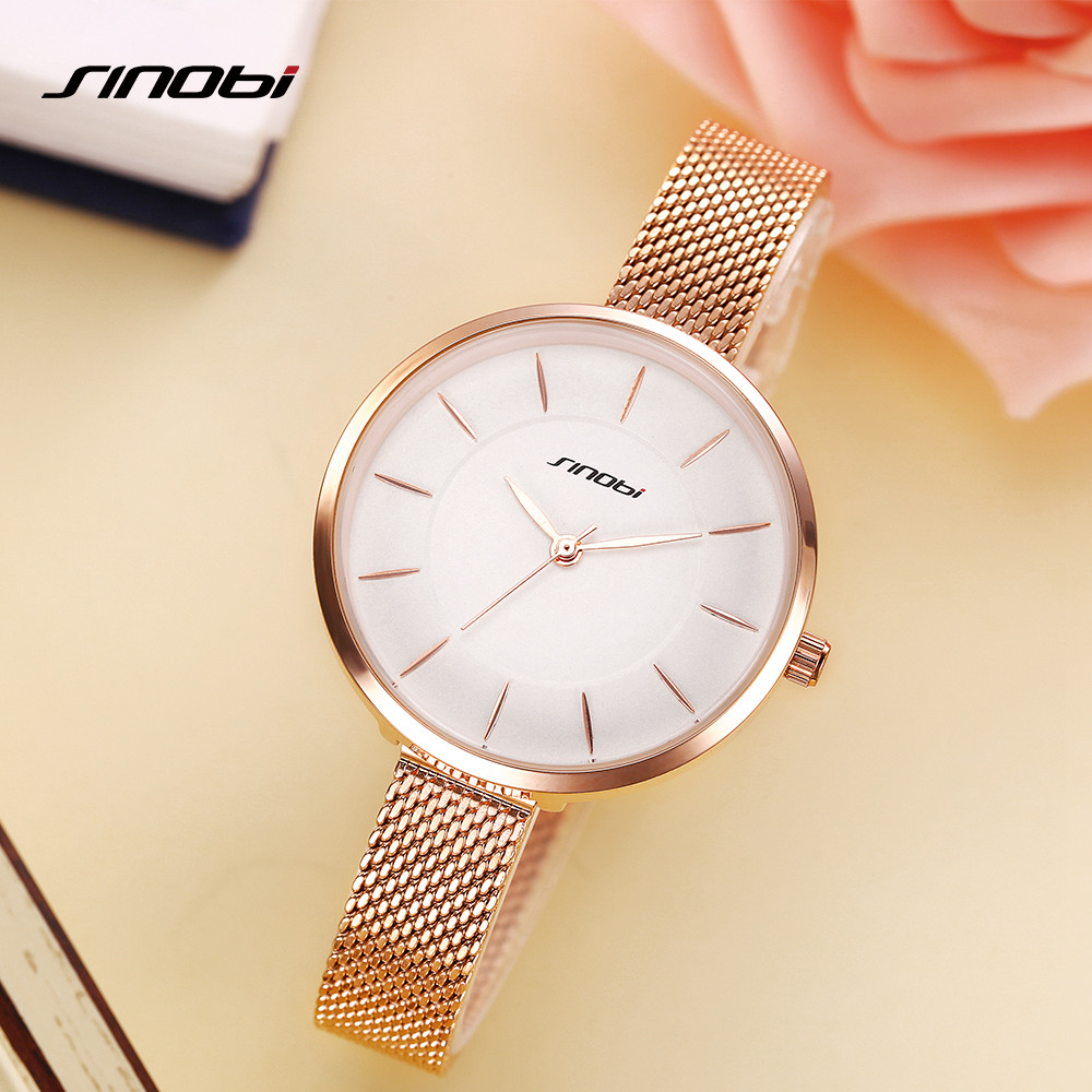 SINOBI 2018 New Brand Fashion Women Watches Quartz Watch Dress Ladies Casual Sports Wristwatch Stainless Steel Strap golden Dial