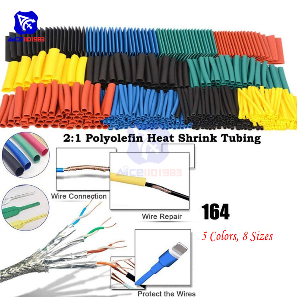 164PCS Cable Sleeves Polyolefin Shrinking Assorted Polyolefin Heat Shrink Tube Wire Cable Insulated Sleeving Tubing Set