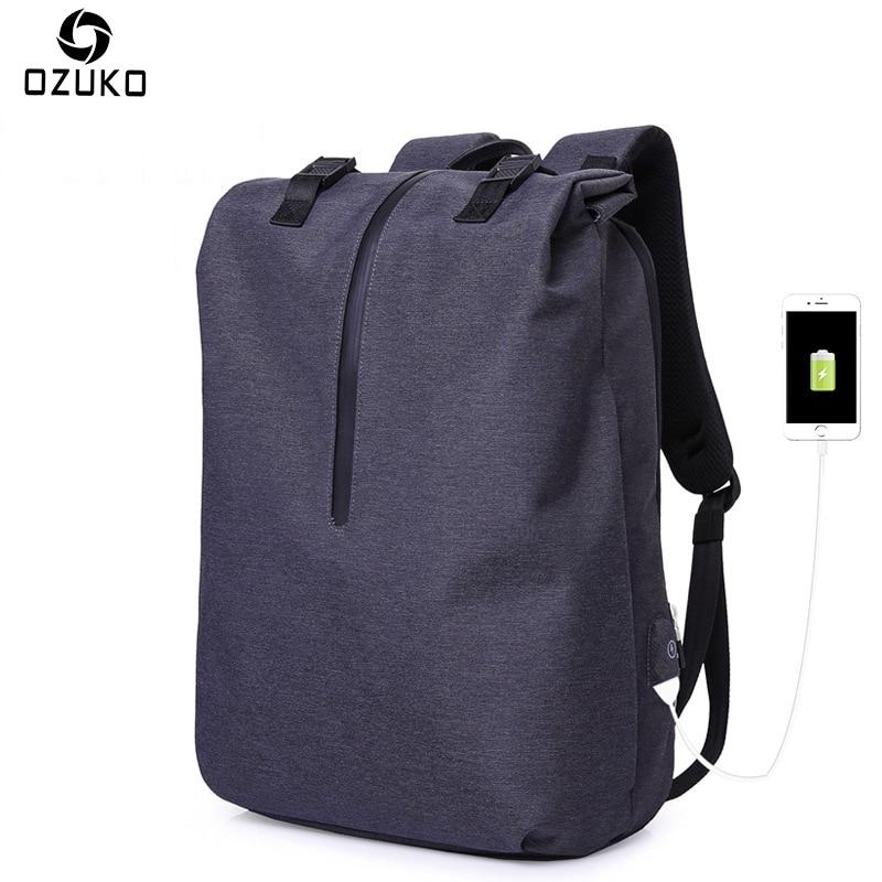 OZUKO Men Casual Backpacks USB Charging 15.6inch Laptop Backpack For Teenager Fashion Student Schoolbag Waterproof Male Mochila