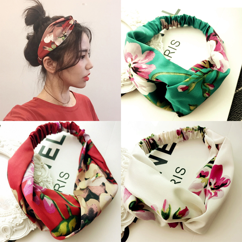 Women Girls Summer Bohemian Hair Bands Print Headbands Retro Cross Turban Bandage Bandanas HairBands Hair Accessories Headwrap