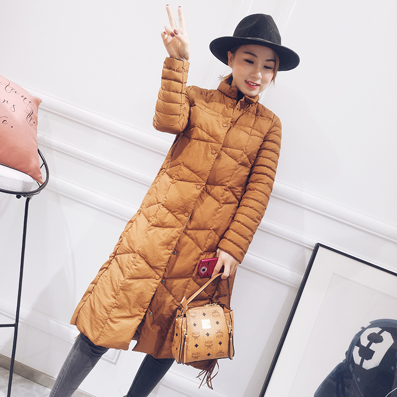 Chinese style stand collar fashion white duck   down   jackets women ultra thin   down     coats   outerwear 2019 autumn winter