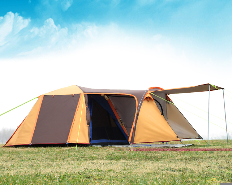 One hall one bedroom 3 4person use double layer ultralarge big space waterproof anti UV camping