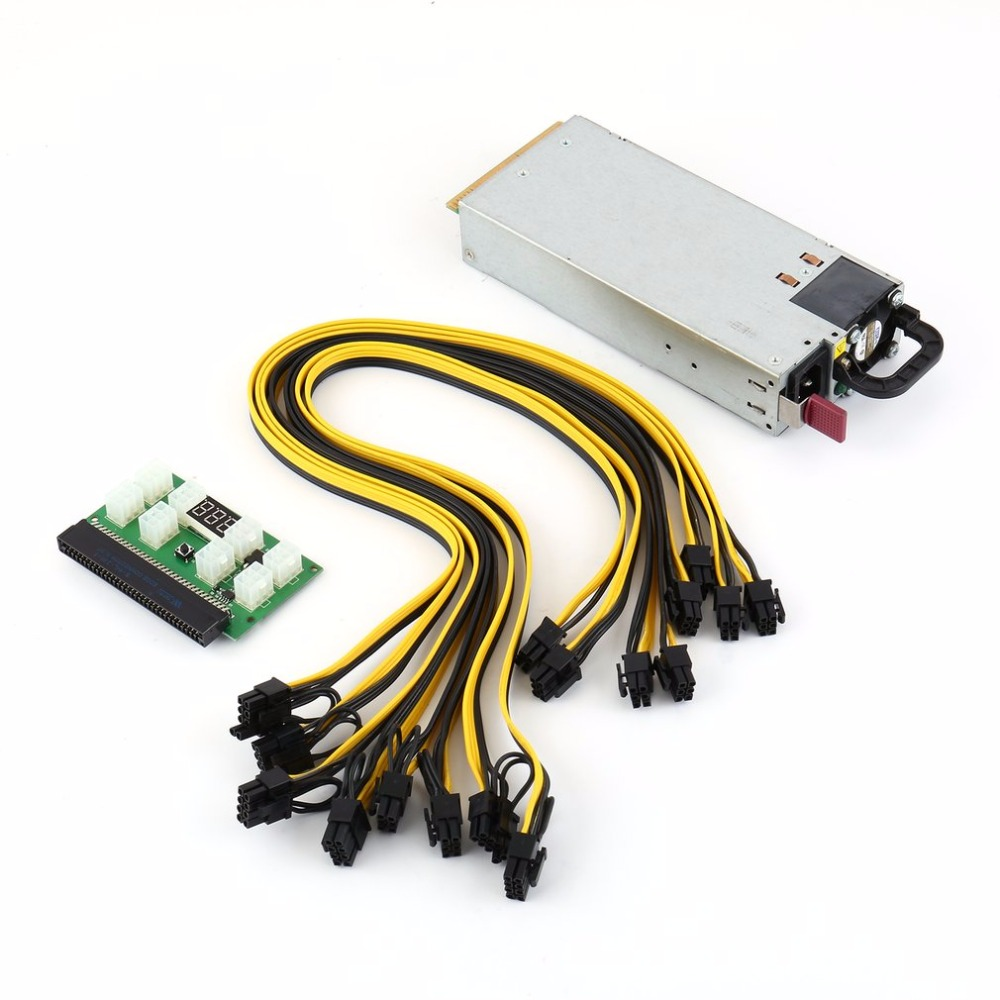110 240V 750W Mining Power Supply Kit for GPU Open Rig Mining BTC ETH Ethereum HSTNS PL12 100V 240V Fully Tested