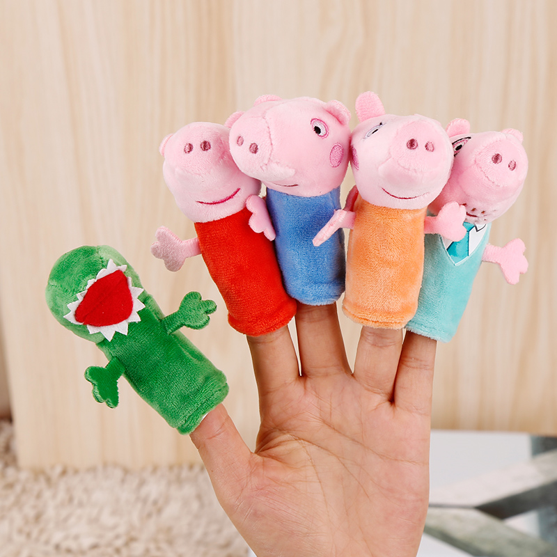 1 pc Genuine Peppa Pig Finger Puppets Peppa George Dinosaur Daddy Mommy Stuffed Kids plush toys Christmas New year gift