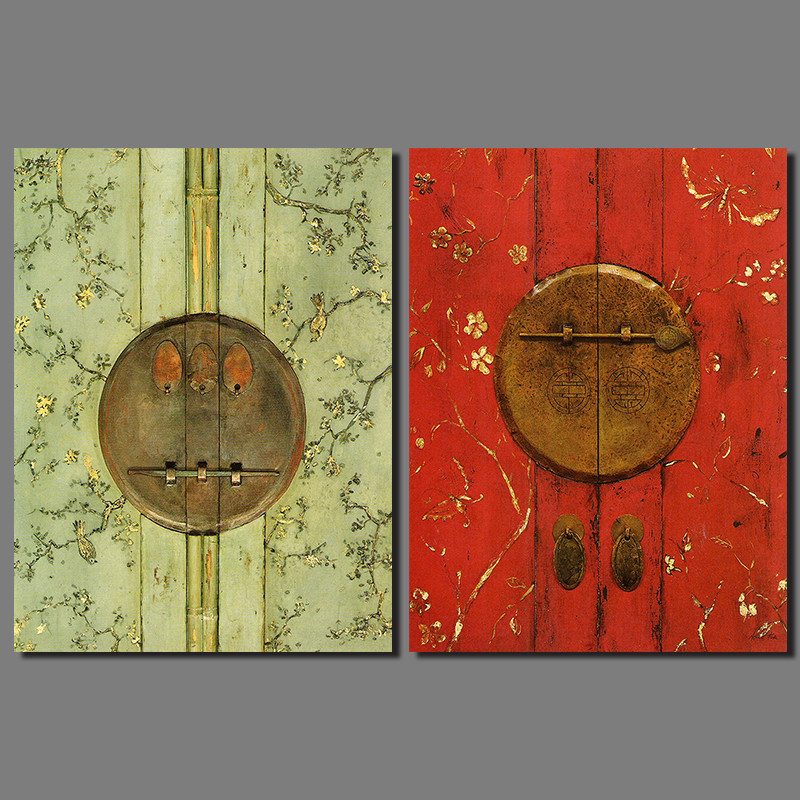 Retro japanese chinese still life red green door picture for Art room door decoration