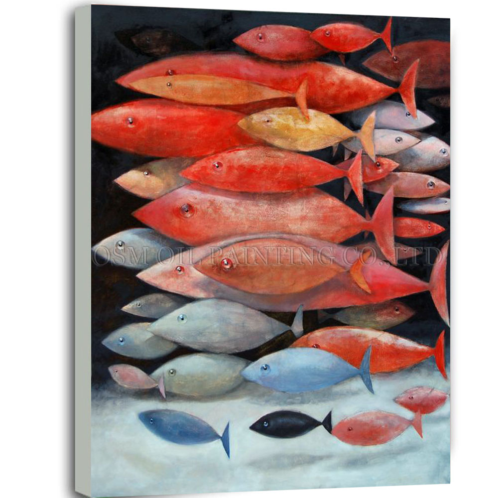 New Arrivals Handmade Colorful Fish School Oil Painting for Living ...