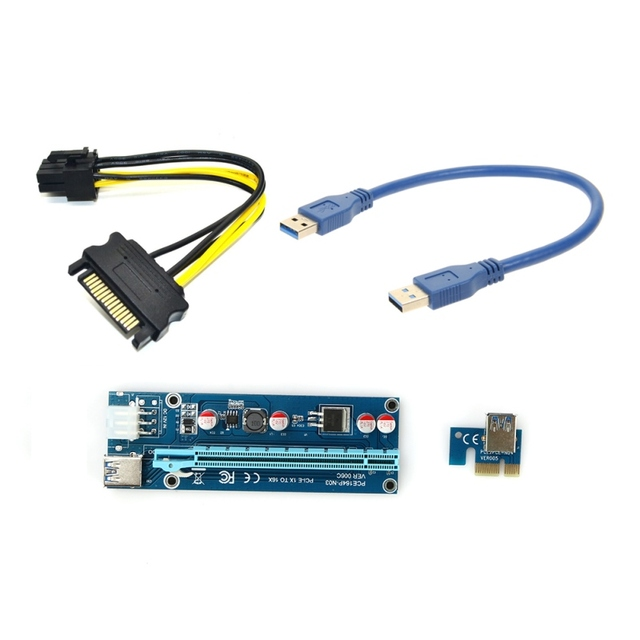 30cm PCIe PCI-E PCI Express Riser Card 1x to 16x with USB3.0 Cable SATA to 6Pin power cable riser for bitcoin mining Machine