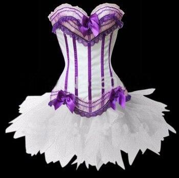 MOONIGHT branco + listra roxa sexy corset top, cintura espartilhos e corpetes overbust corset branco mini saia tutu
