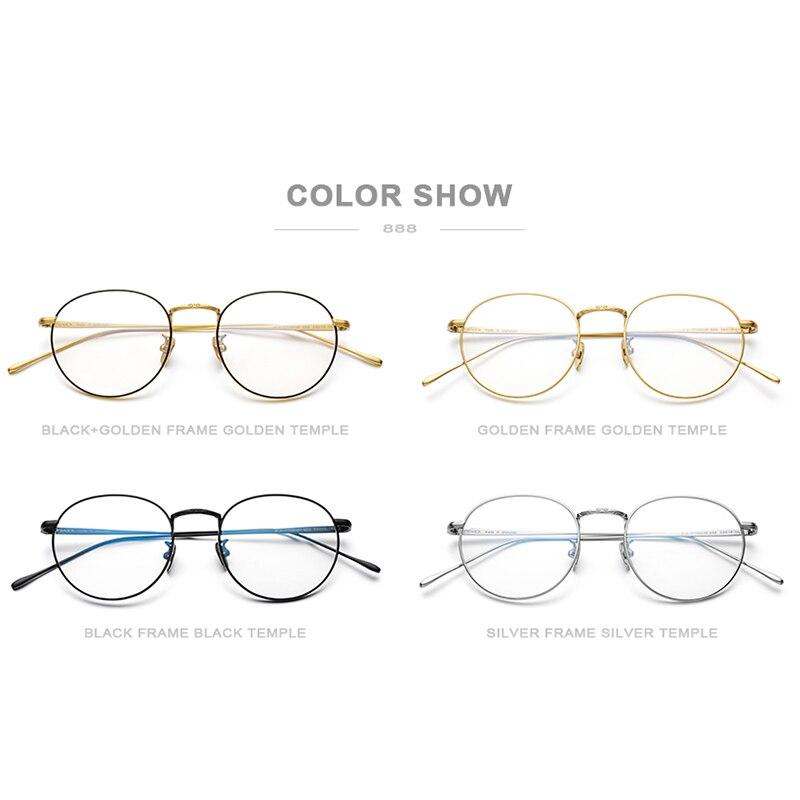 Marco de gafas de titanio puro Vintage ultraligero para hombre, montura de gafas de prescripción óptica de miopía redonda, gafas coreanas para mujer, 888 - 5