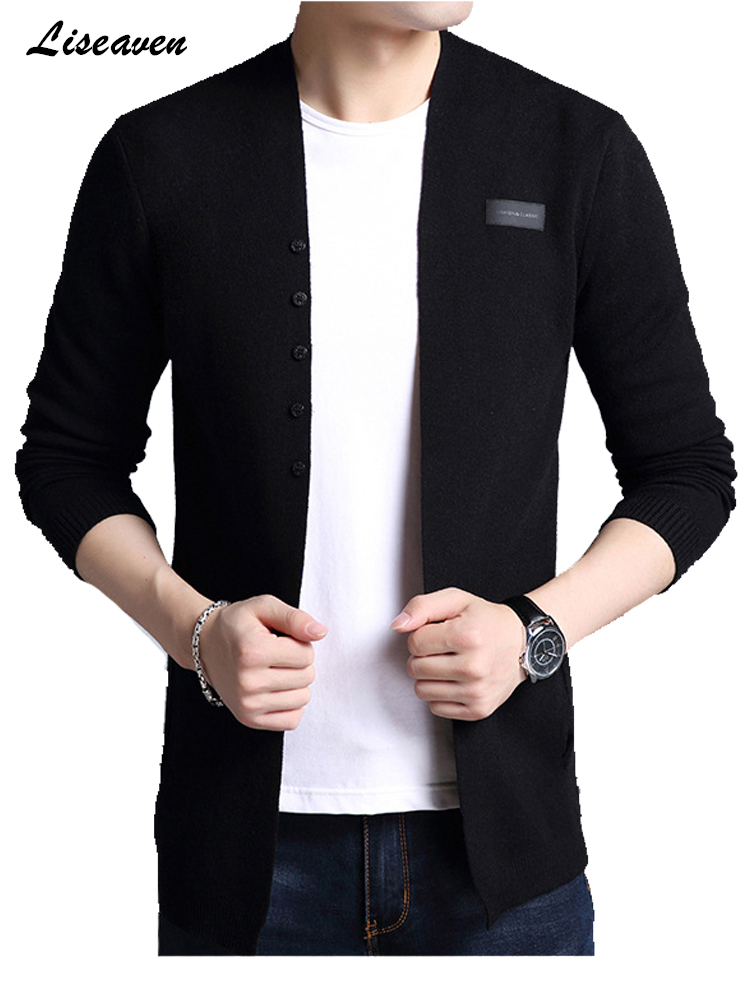 Liseaven Cardigans Mens Solid Sweater Cardigan Trench Male  Jacket Casual Autumn Pure Color Men's Sweaters