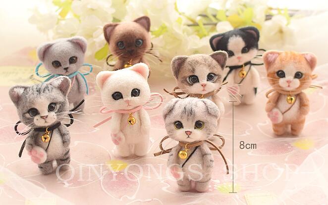 1 Satz Cat Needle Felting Kit Nadelfilz Kit für Kinder DIY Dekoration