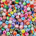 100pcs 81-170 8mm Mix Color Round  resin Multicolor Stripe Rainbow  Spacer Beads for chunky necklace bracelet