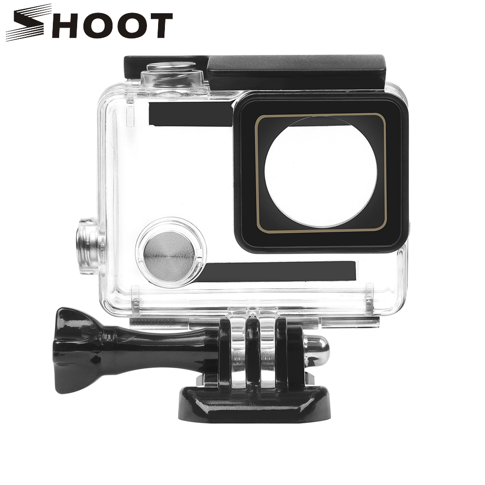цена на SHOOT 30M Waterproof Case for GoPro Hero 4 3+ Black Silver Action Camera with Bracket Protective Housing for Go Pro 4 Accessory