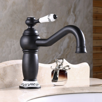 Newly US Free Shipping Wholesale And Retail Bathrom Sink Basin Faucet Oil Rubbed Bronze Ceramics Handle