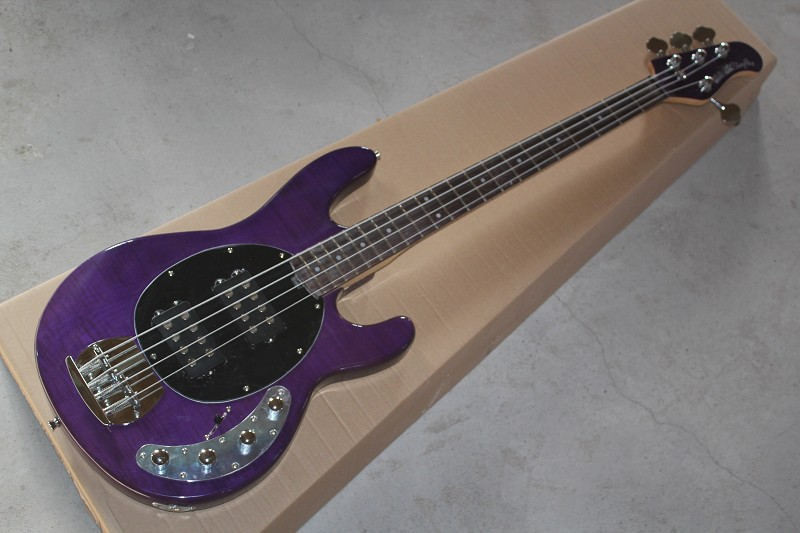 wholesale high quality purple music man stingray 4 string electric bass guitar with 9 v battery. Black Bedroom Furniture Sets. Home Design Ideas