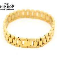 24K Gold Plated Hiphop Watchband President Strap Crown Adjustable Bracelet Stainless Steel Large Solid Heavy Bracelet