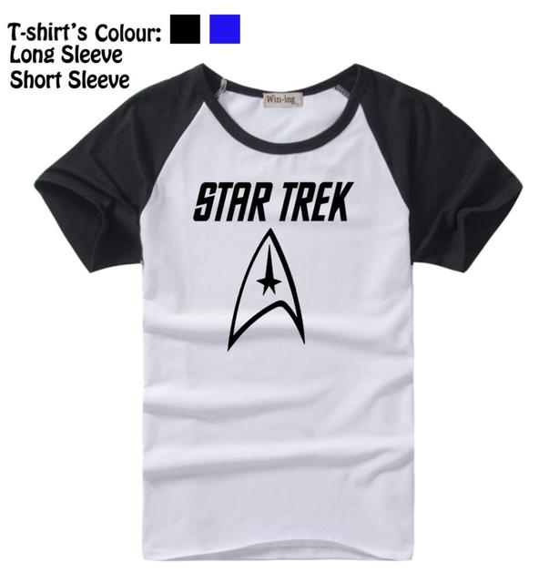 50d432ce7 Simple Style Black Text Star Trek Crew Symbol Design Pattern Long Short  Sleeve T-Shirt Men's Boy's Tee Tops Black or Blue Sleeve