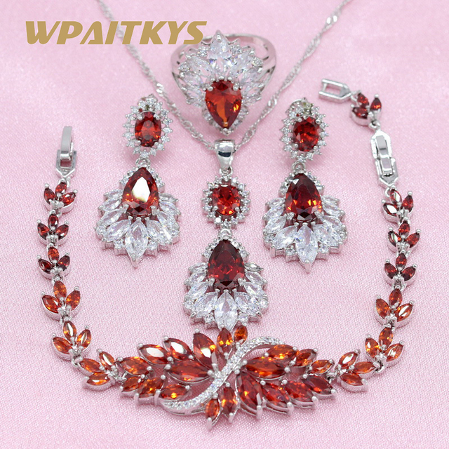 3 Colors Red Blue Green Crystal 925 Silver Jewelry Sets Earring For Women Pendan