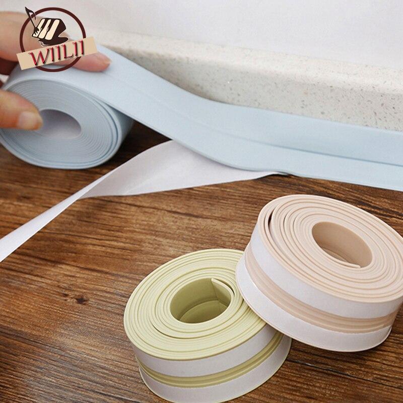 Bathroom Kitchen PVC Mildew Waterproof Tape Corner Seams Toilet Sealing Strip Stove Seal Protectors Sink Slit Wallpaper