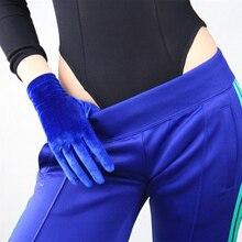 Fashion Women Blue Velvet Gloves Black Short High Elastic Flannel Elegant 3-B14