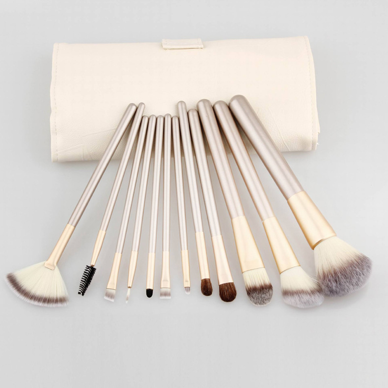 Professional Makeup Brush 12/18Pcs Set Foundation Powder Blush Eyeliner Brushes With Roll Leather Bag high quality 18pcs set cosmetic makeup brush foundation powder eyeliner professional brushes tool with roll up leather case