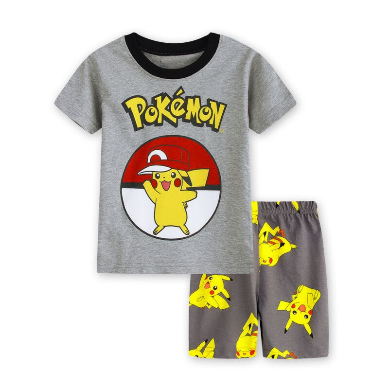 EOICIOI T Shirt Pants Set Baby Boy Girl Cartoon Pikachu Cat Superman Clothing Set Pajamas For Kids Children's Pajamas Summer 2-7