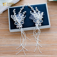 Trendy Silk Flower Hairgrips Sliver Hair Clips Women Crysta Lhairpins Girl Party Jewelry Bride Wedding Hair