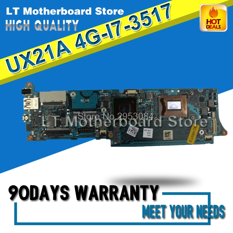 UX21A Motherboard REV 2.0 4G I7-3517 For ASUS UX21 UX21A Laptop motherboard UX21A Mainboard UX21A Motherboard test 100% OK цена