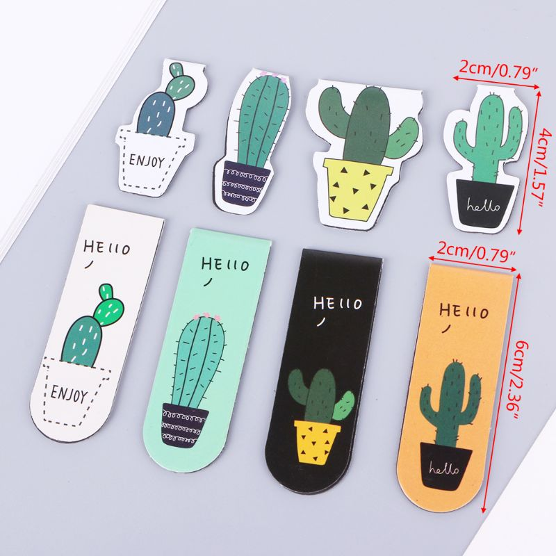 Poplular Cute Cactus Magnetic Bookmarks Book Page Marker Student Stationery Supplies Gift