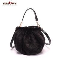 Faux Fur Bucket Bags Women Winter Plush Handbags Ladies Lantern Imitation Rabbit Fur Messenger Bag Female