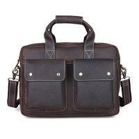 Vintage Genuine Leather Business Bag Cowhide Briefcase Handbag Fit For 14 Laptop PR751123
