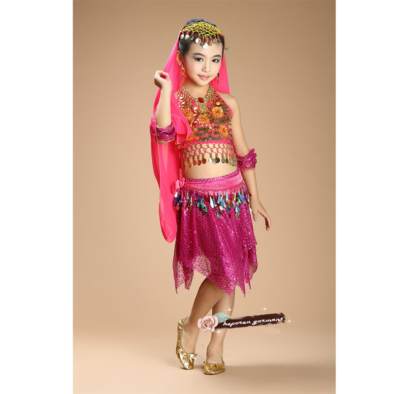 <font><b>Kids</b></font> Belly Clothes Silk Veils Belly Dance Set Top&Skirt With All Decoration,<font><b>Indian</b></font> <font><b>Sari</b></font> For Children Arabic Belly Dance Costumes image