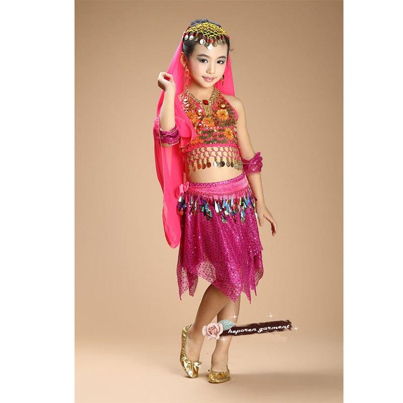 Enfants Du Ventre Vêtements Soie Voiles De Danse Du Ventre Set Top et Jupe Avec Toute la Décoration, Indien Sari Pour Enfants Arabe Costumes De Danse du ventre
