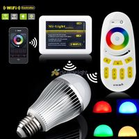 2.4Ghz 9W RGBW RGB+Cool/Warm White LED Light Bulb 9W E27/E26/B22 + Wifi controller+Wireless RF Touch Remote by iOS Android