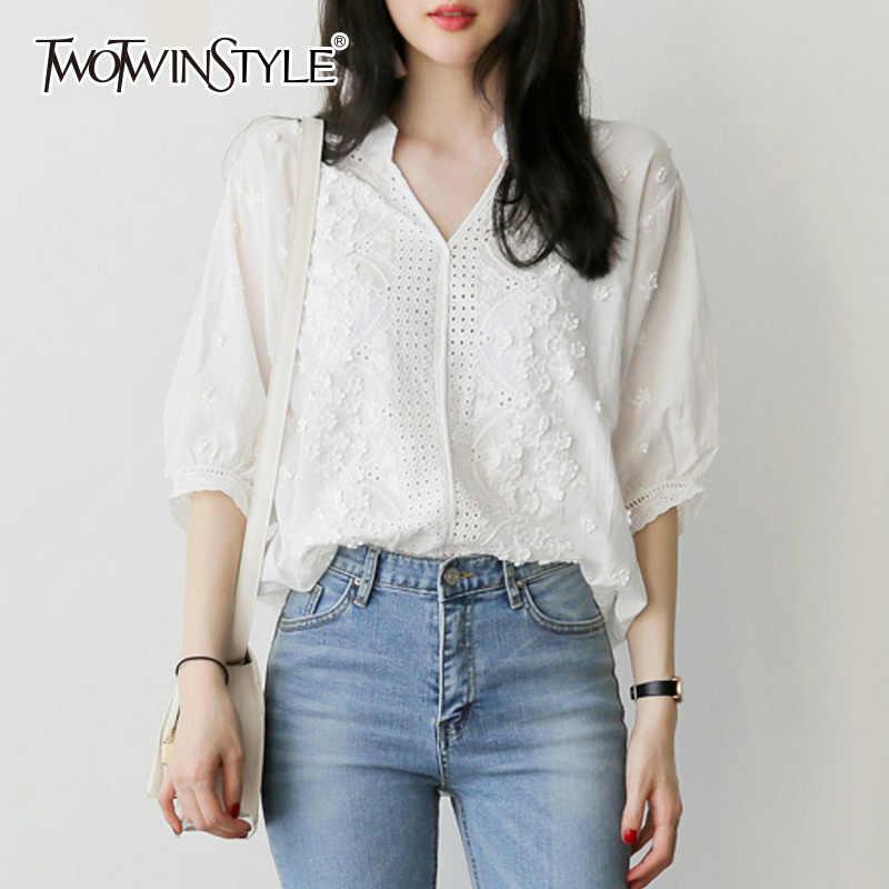 GALCAUR רקמת חולצה נשים V צוואר פרחוני הולו מתוך לנטרן שרוול לבן חולצה חולצות קיץ אופנה מתוקה בגדי 2020