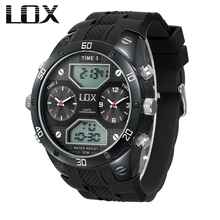 LOX Men Sports 3 Times Dual Display Multifunction Quartz Wristwatches Analog Digital Watch Outdoor Male Military Montre Homme