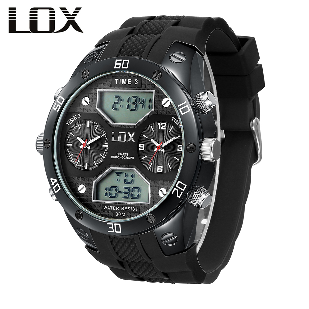 LOX Military Watch 3 Time Zone Digital Big Watches For Men Relogio Esportivo Montre Homme Marque De Luxe Top Sports Clock 2018 new arrival top brand oulm 3548 mens 5 5cm big face watches 2 time zone casual quartz watch montre homme de marque grande