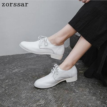 zorssar Genuine Leather Oxford shoes for Women Casual Shoes Moccasins Soft Round Toe Ladies Footwear Women Flats Shoes