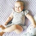 Babados Macacão de Bebê Meninas Verão 2017 Novos Macacão de Bebê Recém-nascido para Meninas Do Bebê Sem Mangas Menina Roupas de Algodão Macacões Infantis